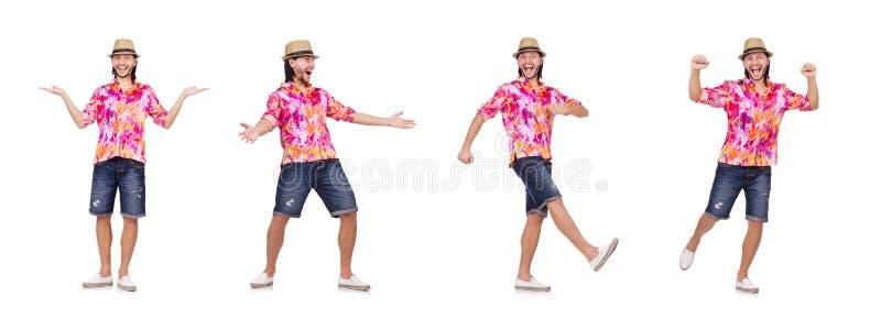 Der lustige Tourist auf Weiß stockfoto