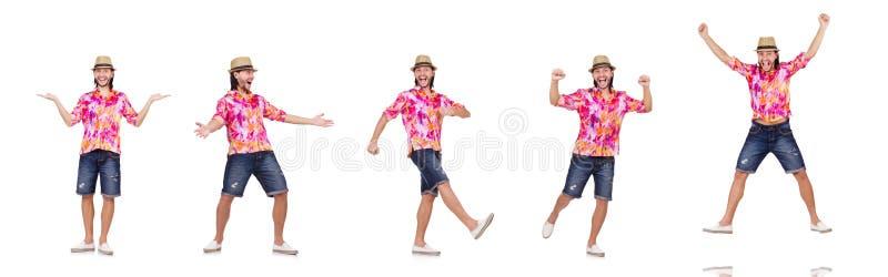 Der lustige Tourist lokalisiert auf Weiß lizenzfreies stockbild