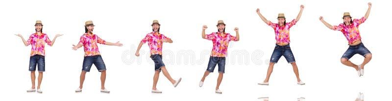 Der lustige Tourist lokalisiert auf Weiß stockbild