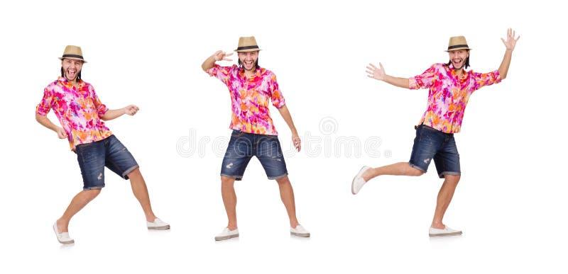 Der lustige Tourist lokalisiert auf Weiß lizenzfreies stockfoto
