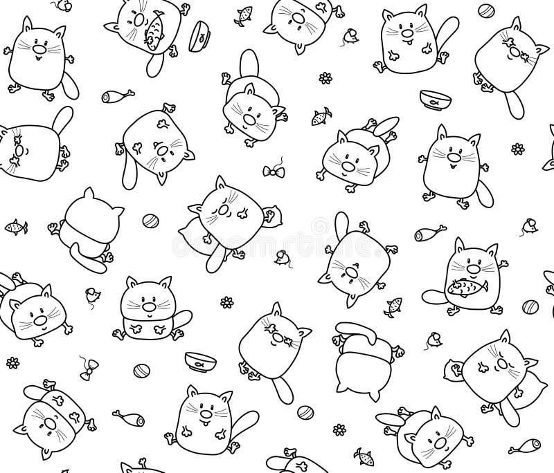 Der lustigen schwarze Schattenbilder Katzen-Karikaturen des Vektors, nettes nahtloses Muster stock abbildung