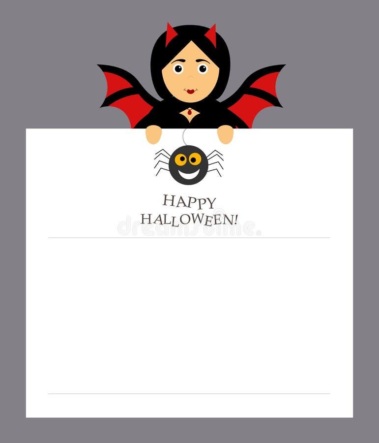 Der Mädchenschlägervampir hält ein Notizblockblatt für die Eintritte Spinne, Aufschrift glückliches Halloween Modernes flaches De vektor abbildung