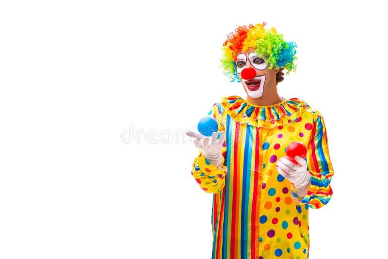 Der m?nnliche Clown lokalisiert auf Wei? stockbilder