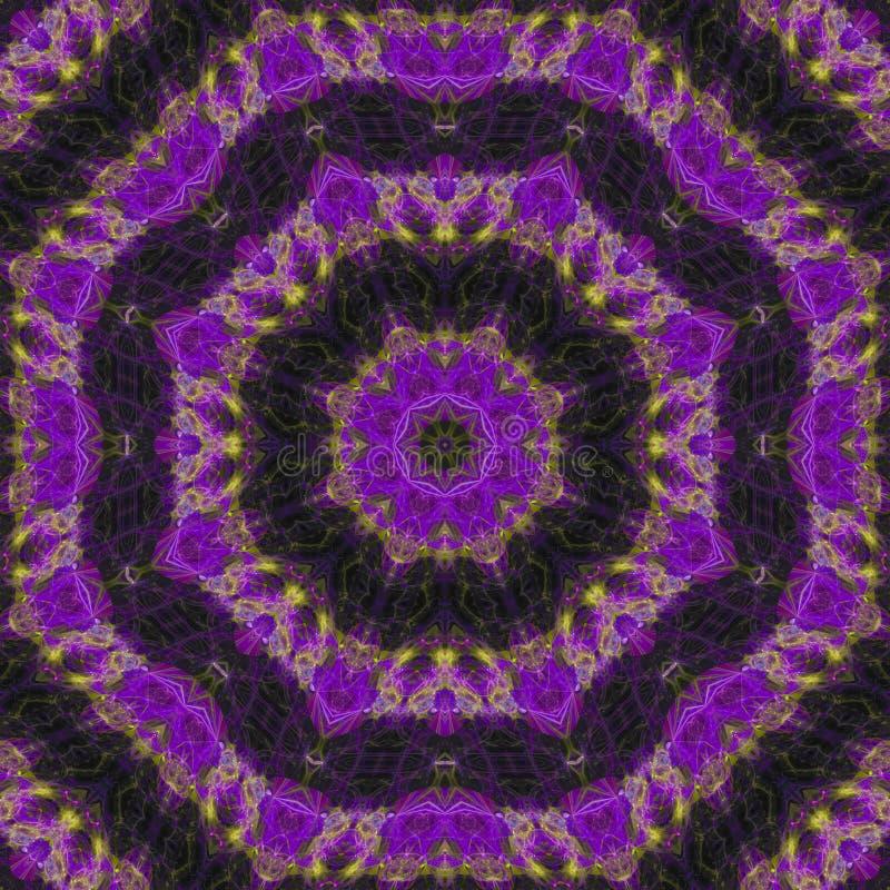 der magischen zeitgenössisches digitales Dekorations-Zusammenfassung der Kaleidoskopmandalaenergie stock abbildung