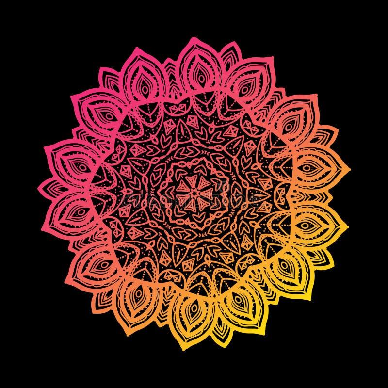 Der Mandalasteigung des Vektors zeichnende strukturierte runde Hintergrundkarte helle Farbhandlokalisiert auf Schwarzem lizenzfreie abbildung