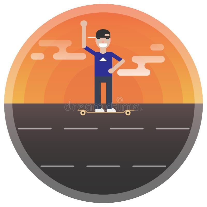 Der Mann auf dem Skateboard r r Junge Frau auf dem Strand von Formentera-Insel lizenzfreie stockfotos