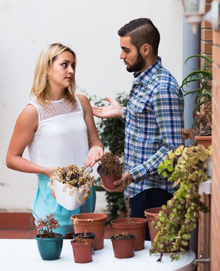 Der Mann, der Entschuldigungen für nicht Bewässerungsfreundinnen macht, blüht stockbild