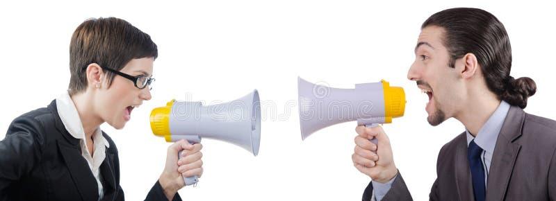 Der Mann, der mit Lautsprecher schreit und schreit stockbilder