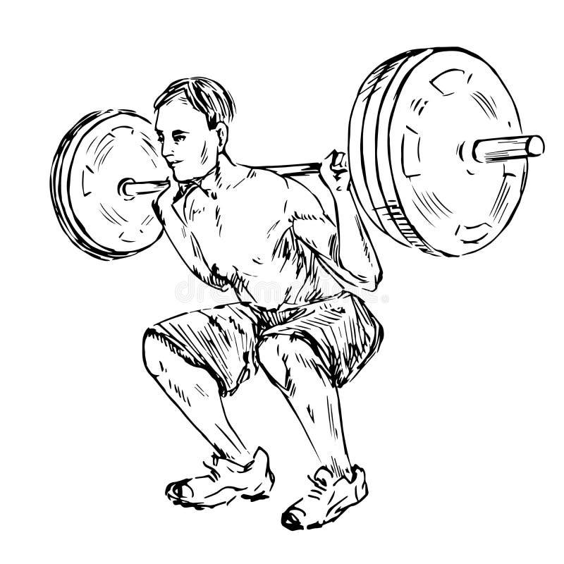 Der Mann, der ein Gewicht, Stand von der Rückseite anhebt lizenzfreie abbildung