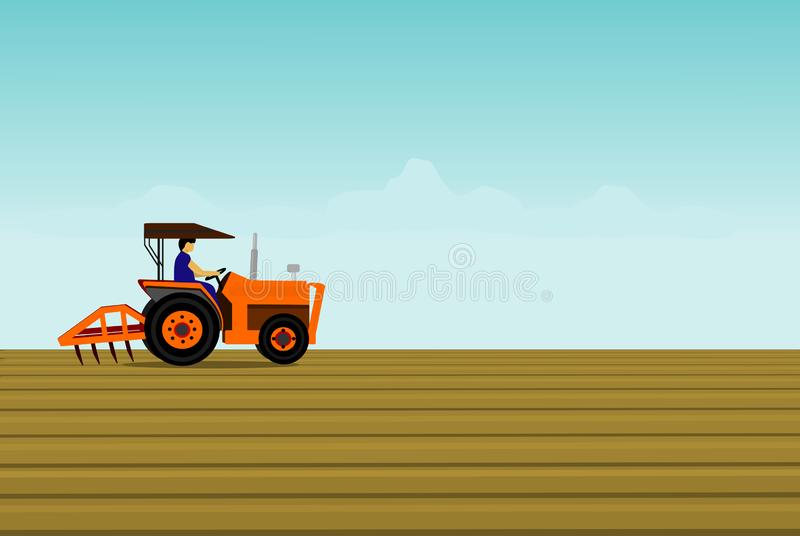 Der Mann fährt einen orange Traktor Zwecks den Boden auf dem Gebiet pflügen vektor abbildung