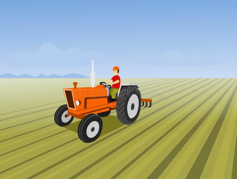 Der Mann fährt einen orange Traktor Zwecks den Boden auf dem Gebiet pflügen lizenzfreie abbildung
