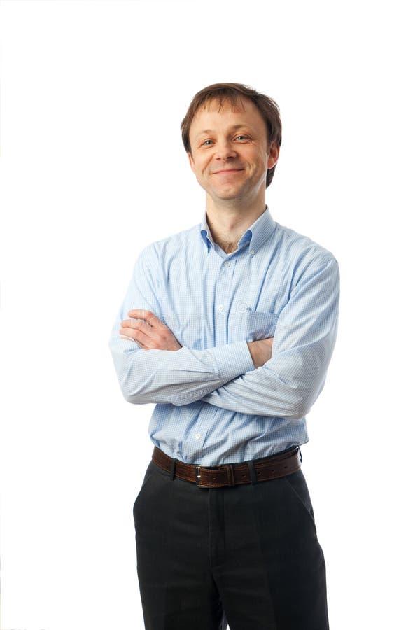Der Mann getrennt auf einem weißen Hintergrund stockfotografie