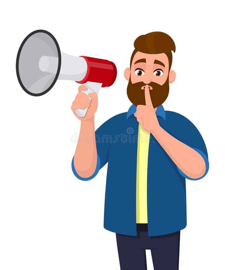 Der Mann hält ein Megaphon oder einen Lautsprecher und hält Zeigefinger auf Lippen bitten um Ruhe Shh! Halten Sie ruhig! Ruhe bit stock abbildung
