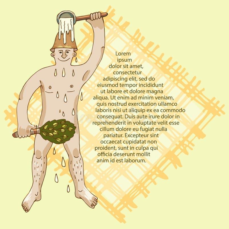 Der Mann im Bad wird mit Wasser gegossen Das Konzept der Freizeit im Bad, im Entspannung und in der Reinheit des Körpers, a stock abbildung