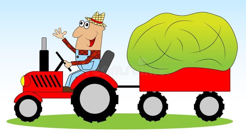 Der Mann ist ein Landwirt auf einem Traktor gefahrenen Heu für Tiere vektor abbildung