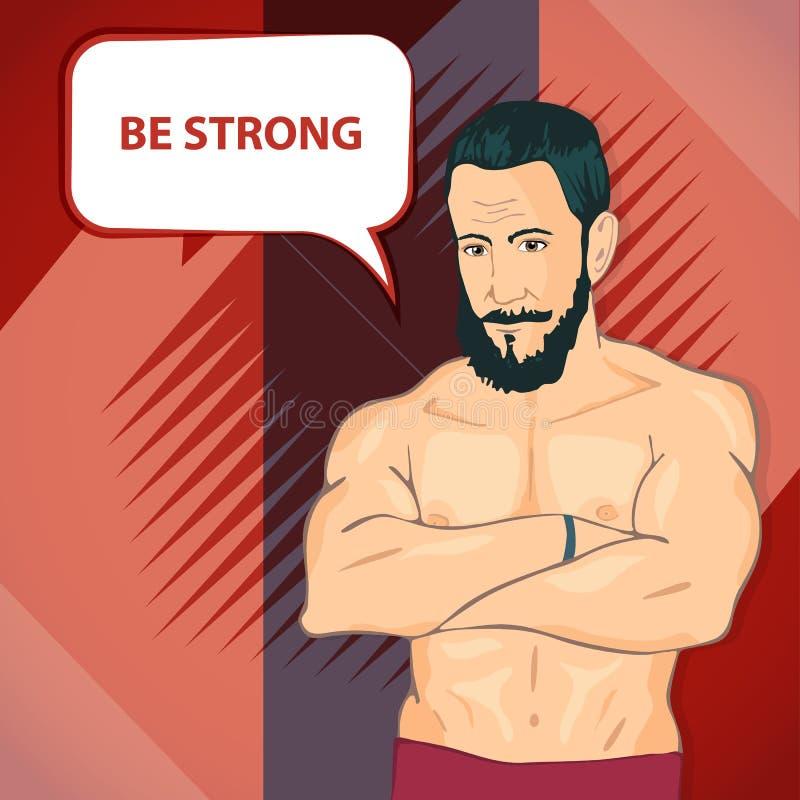 Der Mann mit den Muskeln Aufstellung von Bodybuilding lizenzfreie abbildung