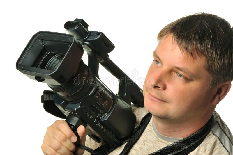 Der Mann mit einer Video Kamera stockfotos