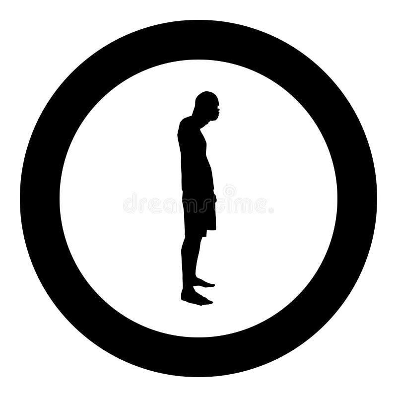 Der Mann, der seine Augen seine Hände schließt, silhouettieren Seitenansichtikonenschwarz-Farbillustration in der Kreisrunde vektor abbildung
