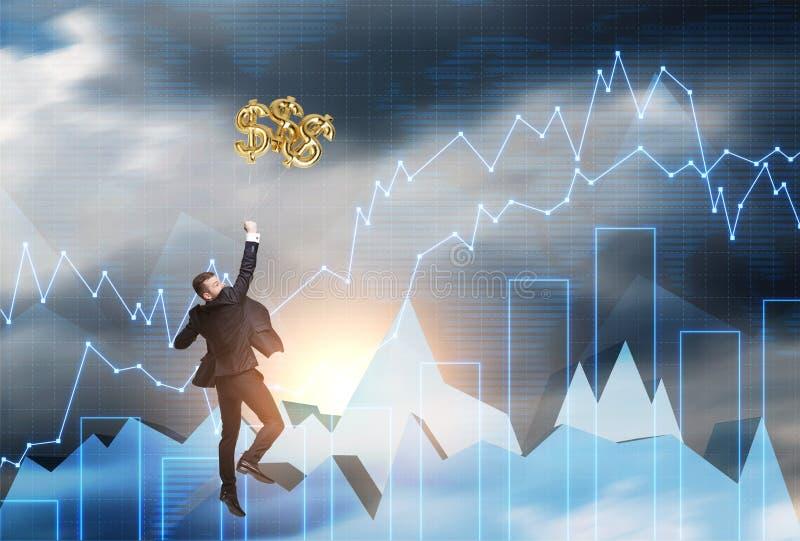 Der Mann springend, um Dollarzeichen zu fangen lizenzfreies stockfoto