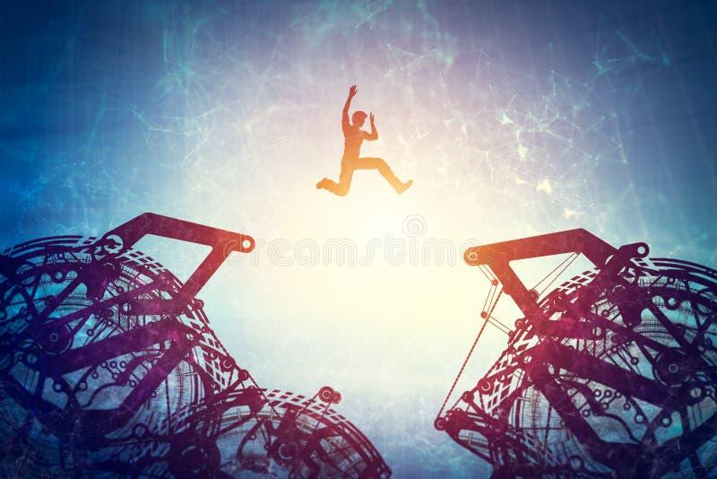 Der Mann springend zwischen zwei Gangmechanismen vektor abbildung