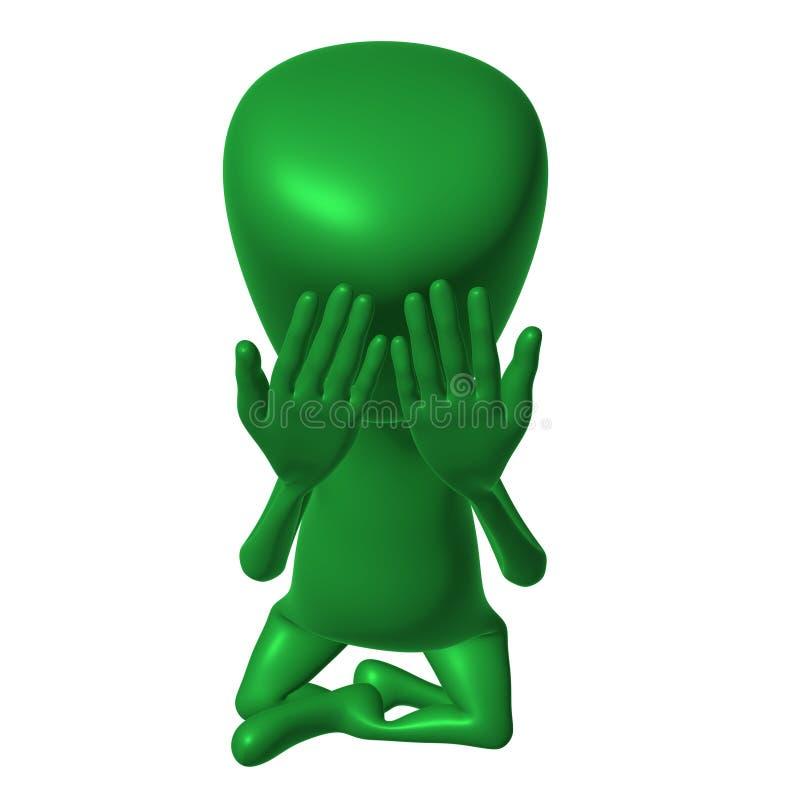 der Marionette 3d Abschlussaugen ernsthaft durch Hände vektor abbildung