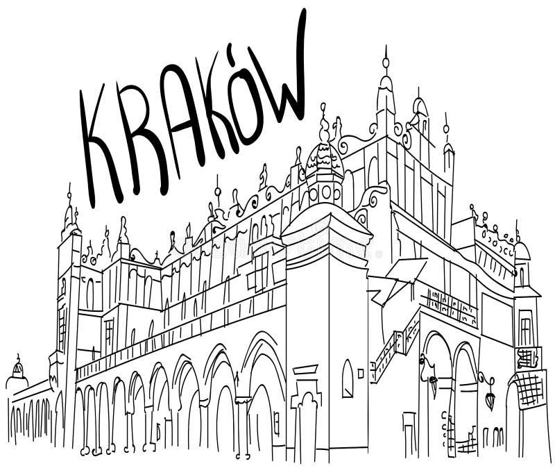 Der Marktplatz in Krakau Polen Schwarzweiss-Skizze lizenzfreie abbildung