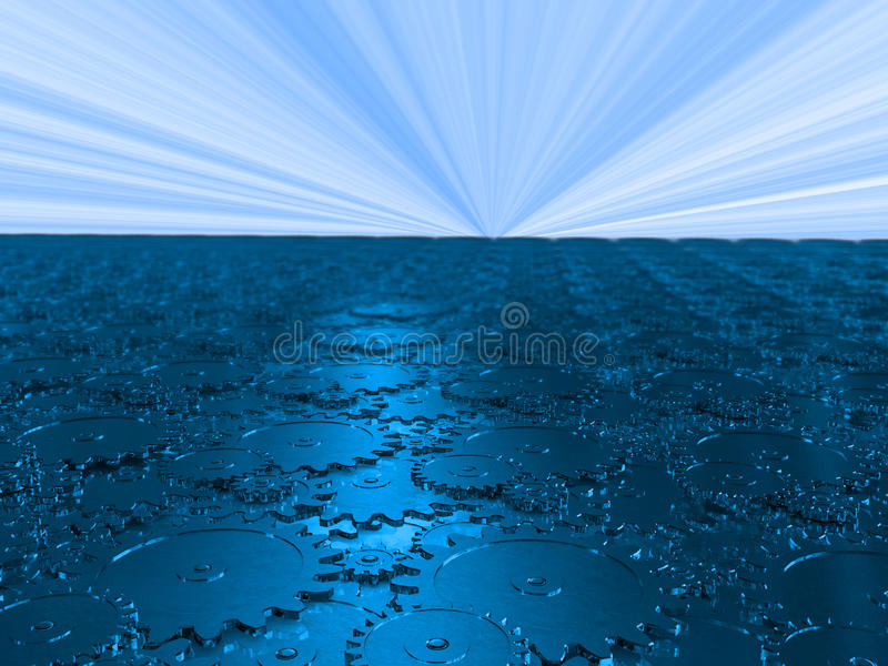 Der Mechanismus des Blaus übersetzt das Ausdehnen in die Zukunft stock abbildung