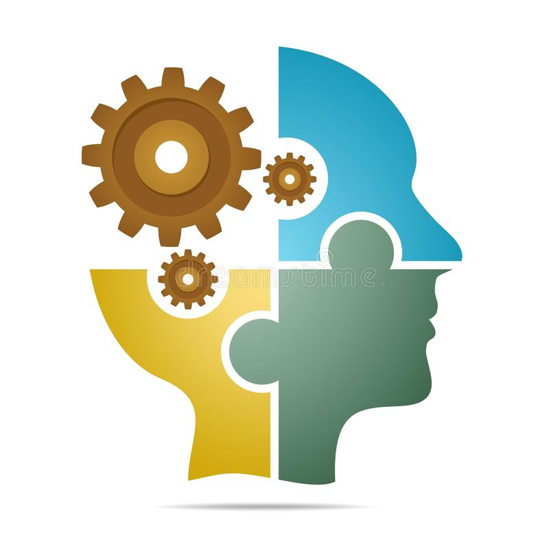 Der menschliche Kopf, der aus farbigem Puzzlespiel besteht, bessert mit braunen Zahnrädern mit grauem Schatten unterhalb des Kopf stock abbildung