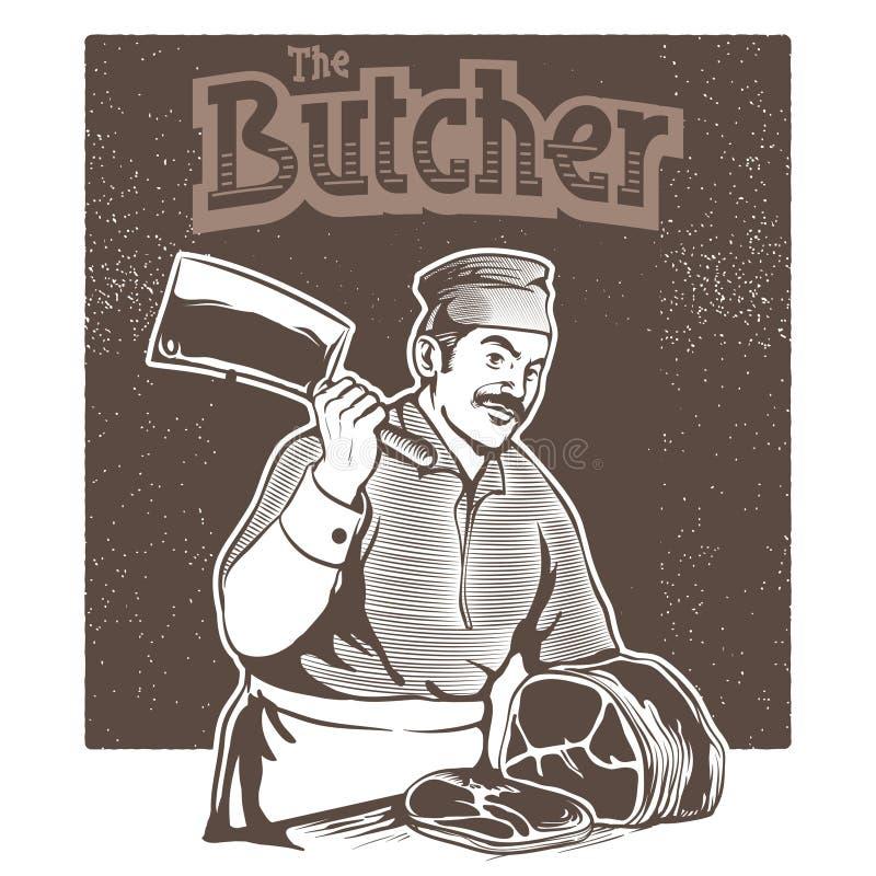 Der Metzger schnitt das Fleisch von stock abbildung