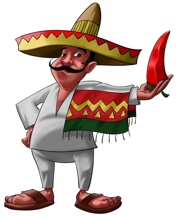 Der Mexikaner und der Jalapeno lizenzfreie abbildung