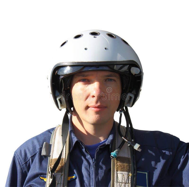 Der Militärpilot in einem Sturzhelm stockfotografie