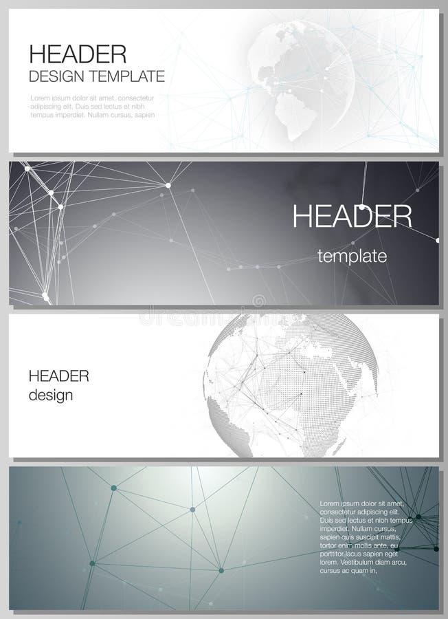 Der minimalistic Vektorplan von Titeln, Fahnendesignschablonen Futuristisches geometrisches Design mit Weltkugel stock abbildung