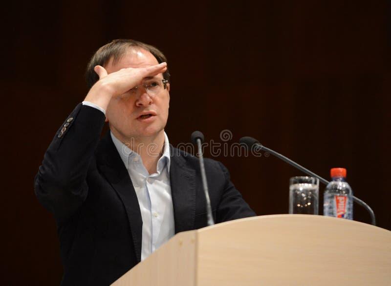 Der Minister für Kultur der Russischen Föderation Vladimir Medinsky gibt einen Vortrag in Kaluga lizenzfreies stockbild