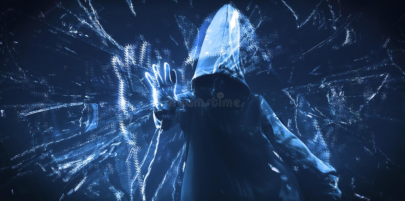 Der mit Kapuze Hacker des dunklen Netzes stockfotografie