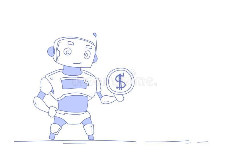 Der moderne Roboter, der Konzept der künstlichen Intelligenz des Dollarmünzgeldwohlstandswachstums hält, lokalisierte weißen Hint vektor abbildung