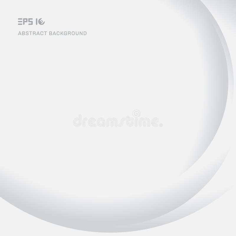 Der modernen glatter weißer Hintergrund Kurven-Beschaffenheit des Zusammenfassungselements mit Schatten- und Kopienraum lizenzfreie abbildung