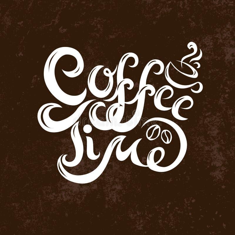Der modernen handgeschriebener weißer Text Kalligraphie-Aufschrift der Kaffeezeitphrasenfahne auf Kaffee-farbigem Hintergrund des lizenzfreie abbildung