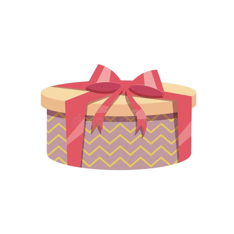 Der modischen runde Geschenkbox Design-Weinlese der Karikatur mit rotem Band und Bogen Geburtstags- und Weihnachtsvektorikone lizenzfreie abbildung
