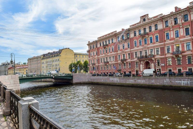 Der Moika-Damm in St Petersburg stockbild