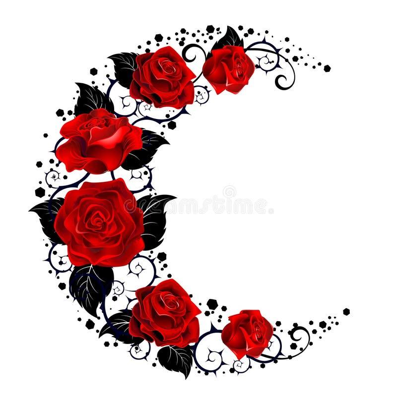 Der Mond von roten Rosen stock abbildung