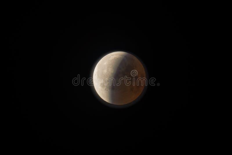 Der Mond während der Eklipse stockfoto