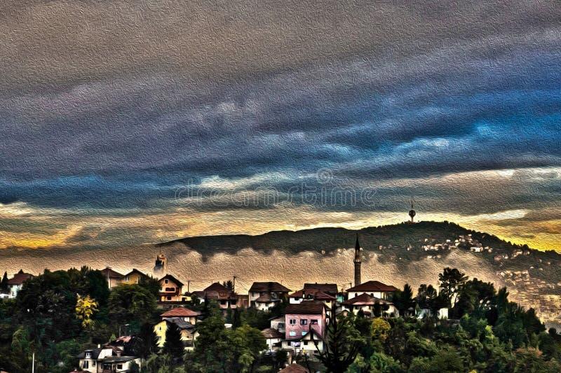 Der Morgen Nebel in Sarajevo lizenzfreie stockbilder