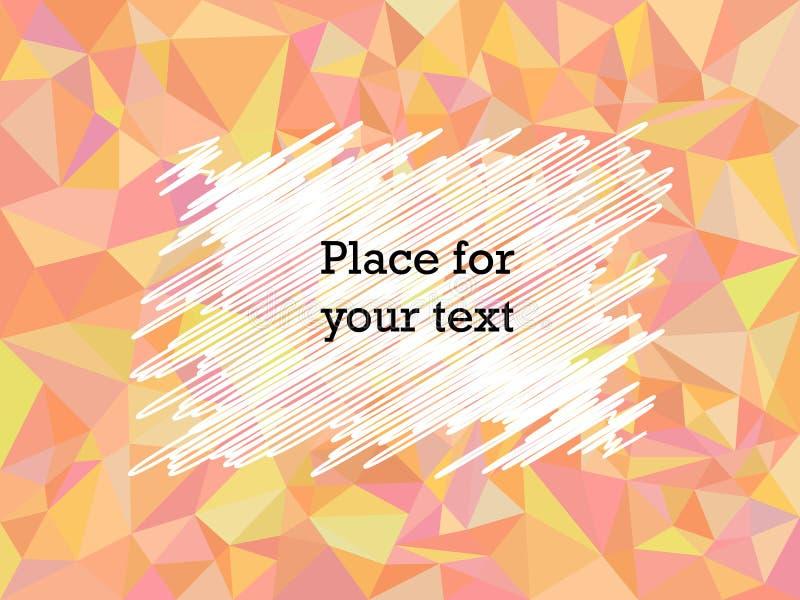 Der Mosaikbeschaffenheit des Zusammenfassungspolygons geometrische rote Farbe mit Untertonen Ausbr?ten, Rahmenraum f?r Text Auch  stock abbildung