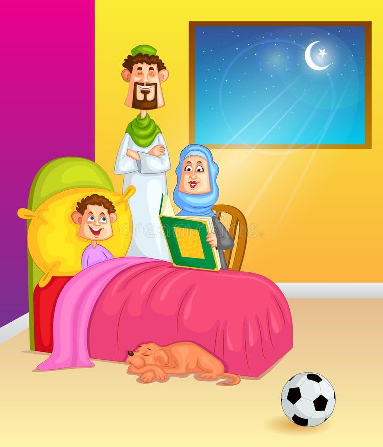 Der moslemische Familienlesungskoran auf Vorabend von Eid lizenzfreie abbildung