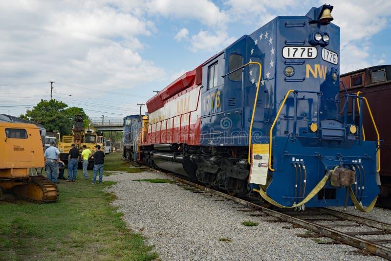 Der Motor von 1776 beim dritten jährlichen Big Lick Train Tug zu Beginn lizenzfreie stockfotos