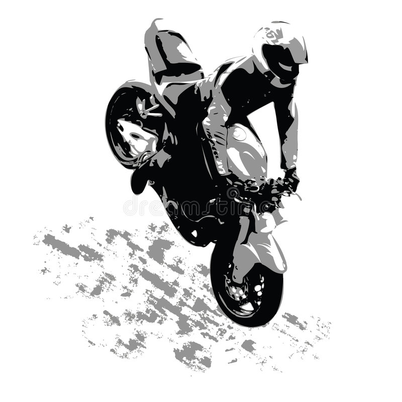 Der Motorradfahrer stock abbildung