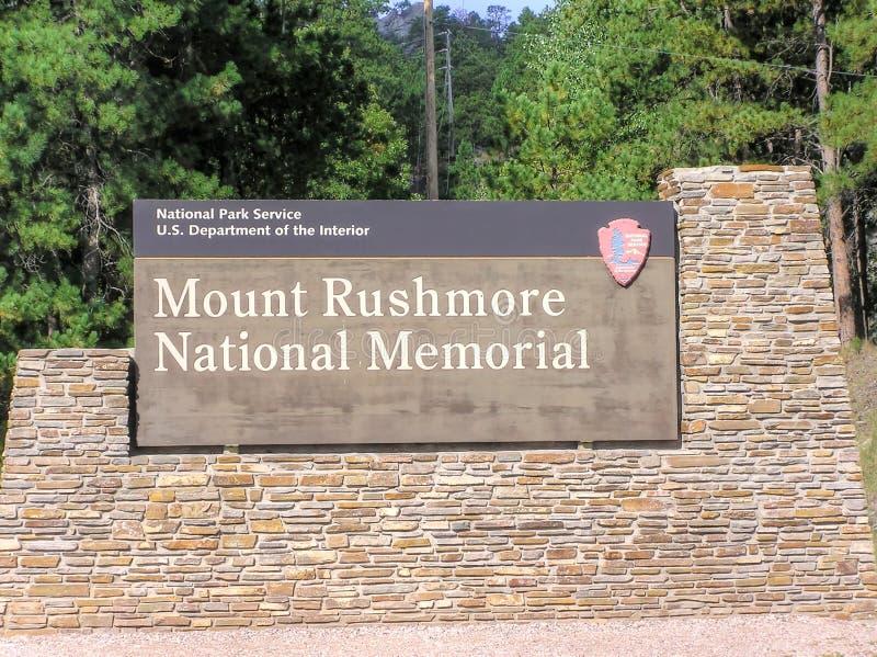 Der Mount Rushmore nationales Erinnerungszeichenbrett lizenzfreie stockfotografie