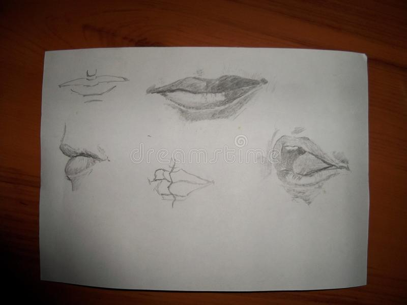 Der Mund der Bleistift-Zeichnung zu ? Die K?nste lizenzfreie abbildung