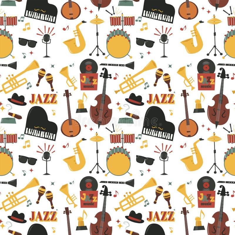 Der Musikinstrumentwerkzeughintergrund jazzband Klaviersaxophonmusik des Jazz Mustertonvektor-Illustrationsrock nahtloser lizenzfreie abbildung