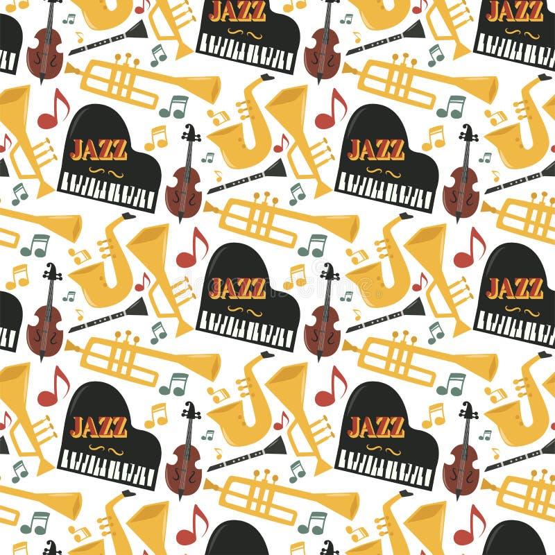 Der Musikinstrumentwerkzeughintergrund jazzband Klaviersaxophonmusik des Jazz Mustertonvektor-Illustrationsrock nahtloser vektor abbildung